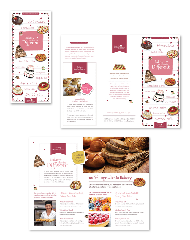 Decorative Bakery Tri Fold Brochure Template