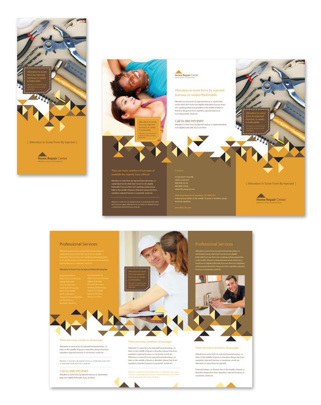 Home Repair Tri Fold Brochure Template