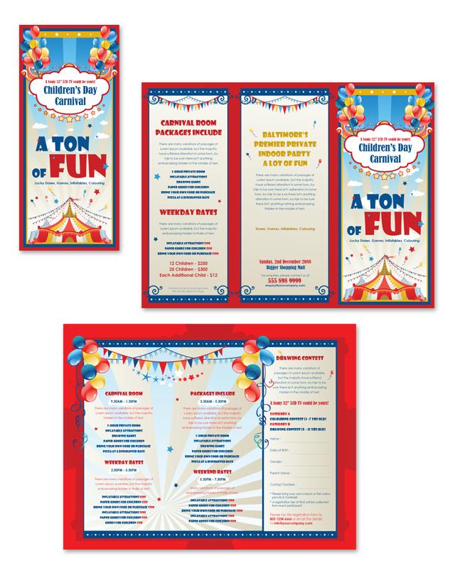 Kids Carnival Day Tri Fold Brochure Template
