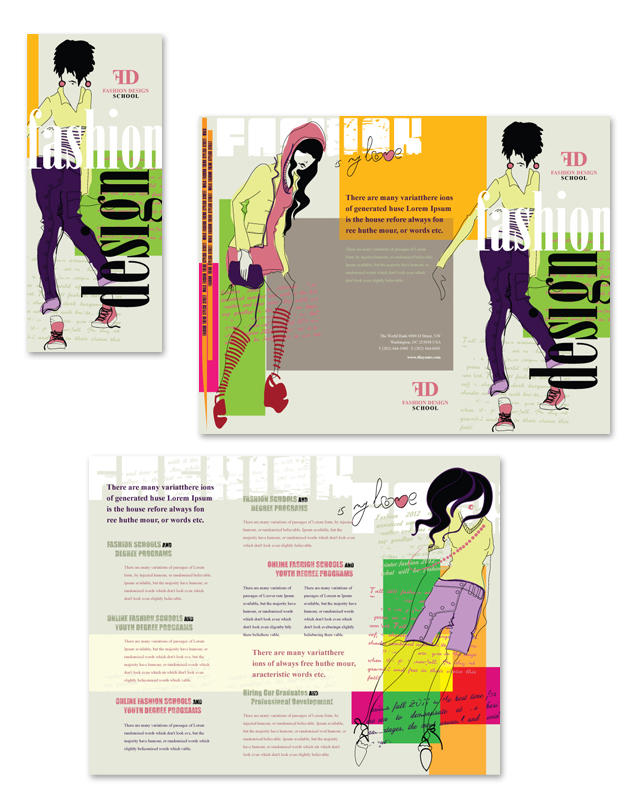 Fashion Design School Tri Fold Brochure Template
