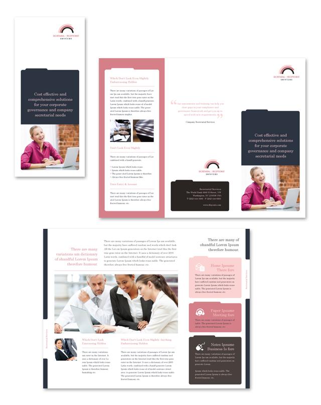 Secretarial Services Tri Fold Brochure Template
