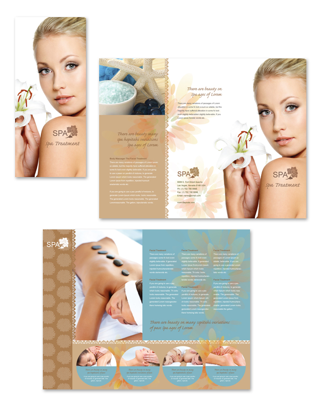 Spa Treatment Tri Fold Brochure Template