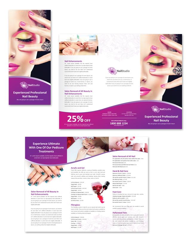 Nail Beauty Salon Tri Fold Brochure Template