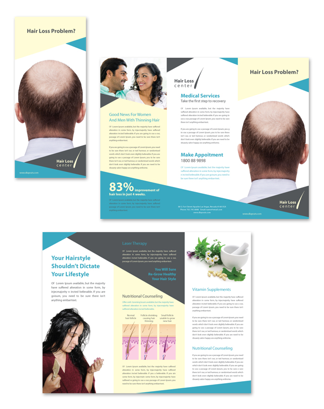 Hair Loss Center Tri Fold Brochure Template