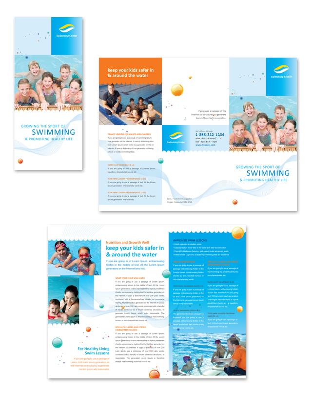 Swimming Lessons Tri Fold Brochure Template