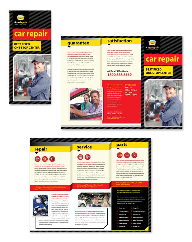 Auto Repair Services Tri Fold Brochure Template