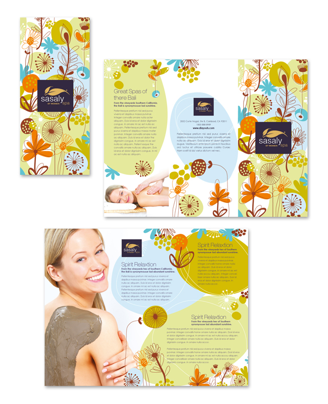 Day Spa Beauty Salon Tri Fold Brochure Template Getty Layouts