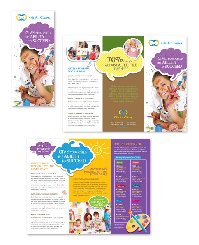 Kids Art Classes Tri Fold Brochure Template