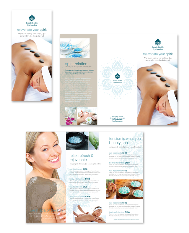 Day Spa & Beauty Salon Tri Fold Brochure Template