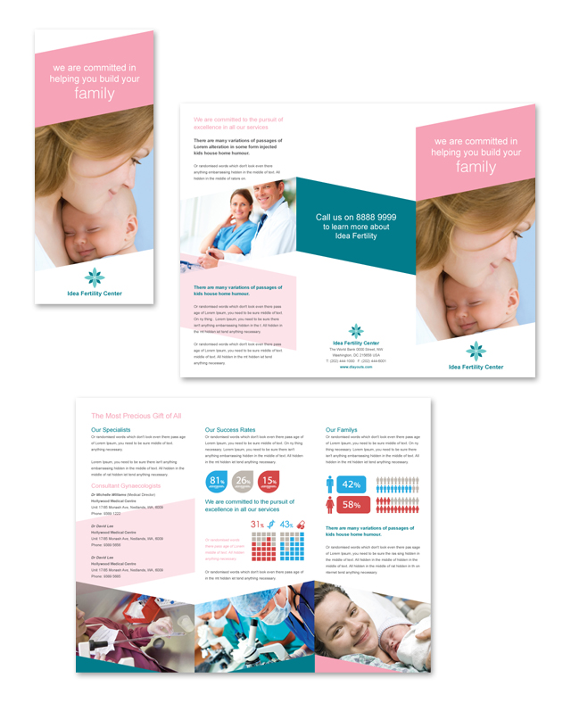Fertility Hospital Tri Fold Brochure Template