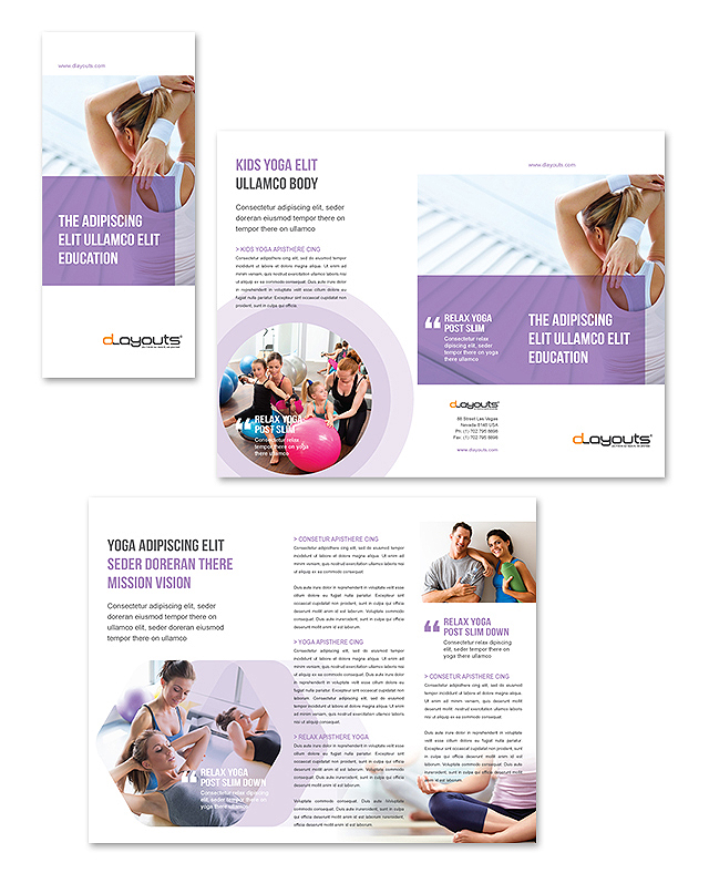 Yoga Instructor & Studio Tri Fold Brochure Template