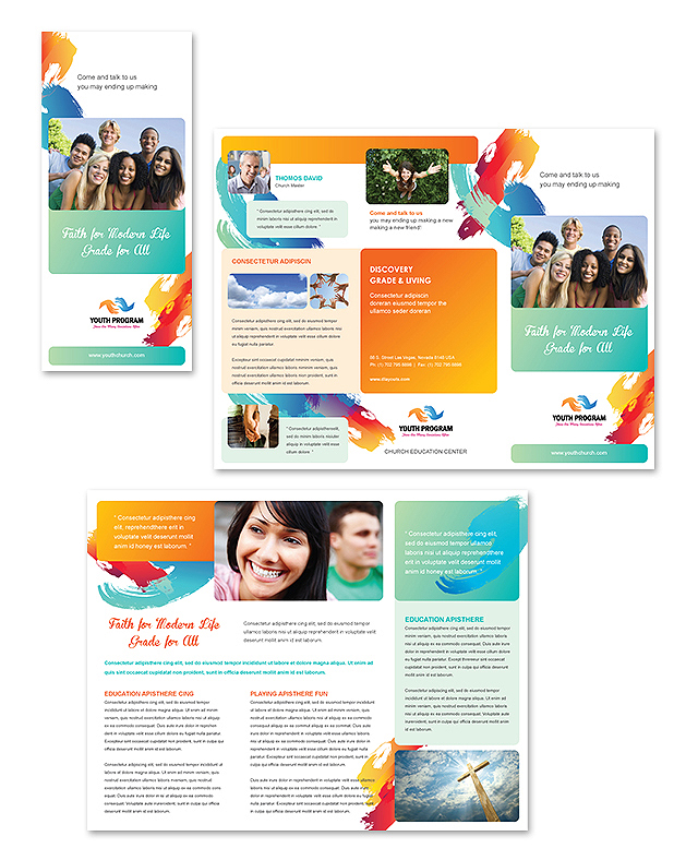 Church Youth Ministry Tri Fold Brochure Template