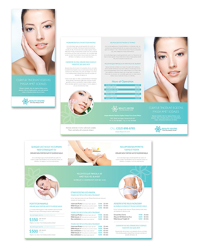 Beauty Spa Salon Tri Fold Brochure Template