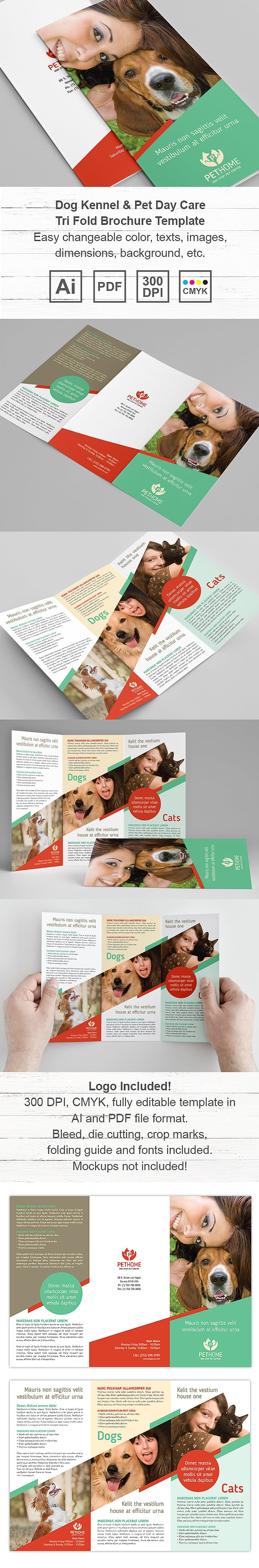Dog Kennel & Pet Day Care Tri Fold Brochure Template