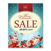 Candy Christmas Sale Poster Template