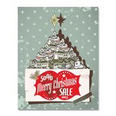 Retro Christmas Sale Poster Template